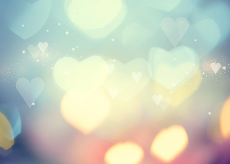 bokeh: Valentine Hearts Abstract Background. St.Valentines Day