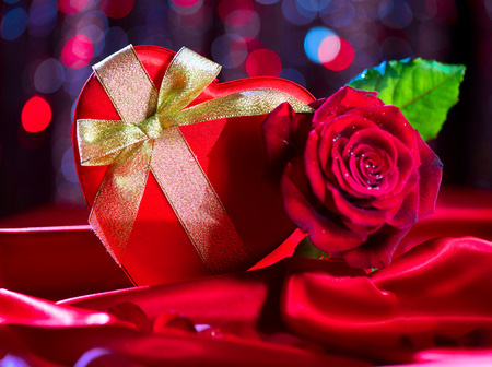 Valentine red heart gift box and red rose photo