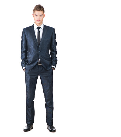 blue grey coat: Full length portrait on young handsome man. Elegant man Stock Photo