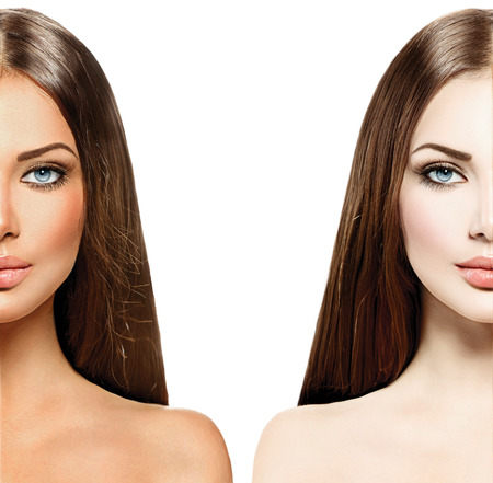 Beautiful young woman with tanned skin before and after tan photo