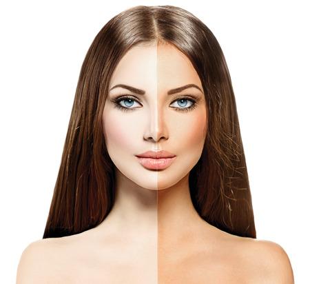 Piękna młoda kobieta z opalonej skóry przed i po opaleniznę