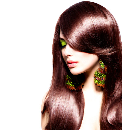 salon: Beautiful brunette girl with healthy long brown hair