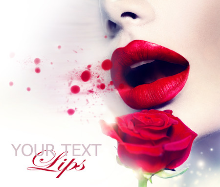 lip kiss: Beautiful Red Lips and Rose Flower. Beauty Girl Stock Photo