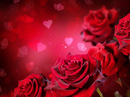 bunch of red roses: Roses and hearts background. Valentine or wedding card design