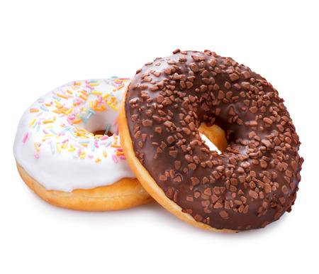 glazed: Donuts isolated on white background. Tasty glazed donuts closeup