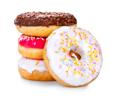 calory: Donuts isolated on white background. Tasty glazed donuts closeup