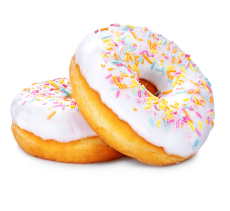 Donuts isolated on white background. Tasty glazed donuts closeup