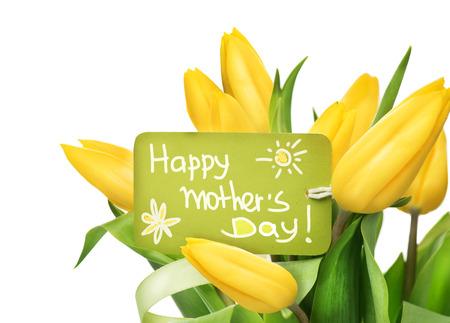 dia: Día de la Madre amarillo tulipanes ramo de flores con la tarjeta de felicitación