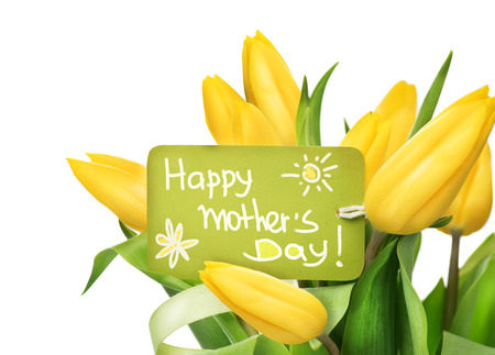 Mother\'s Day yellow tulips flower bunch with greeting card Standard-Bild