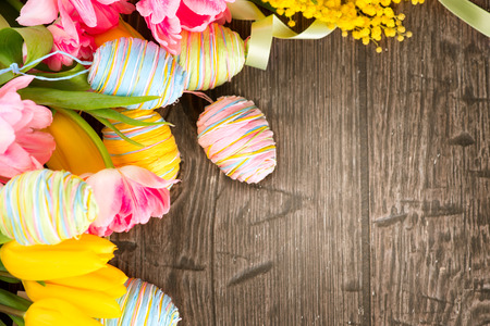 spring bud: Easter background. Beautiful Easter holiday backdrop frame