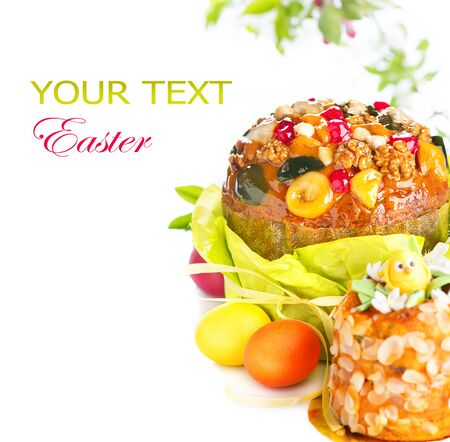 holiday food: Easter cake and colorful painted eggs. Easter holiday food