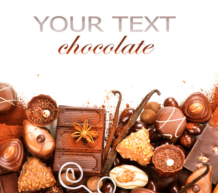 Chocolates border isolated on white background. Chocolate 版權商用圖片