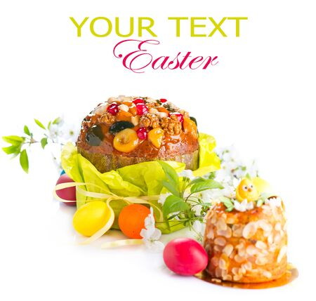 Traditional Easter cake and colorful painted eggs photo