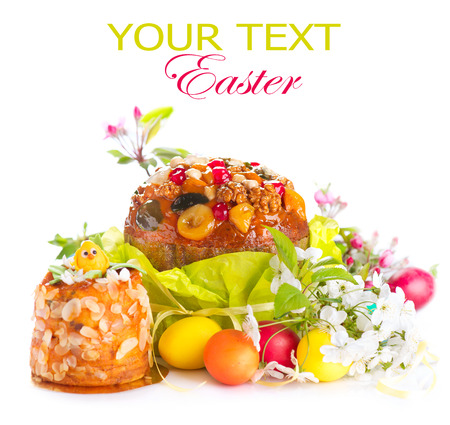easter cookie: Easter cake and colorful painted eggs. Easter holiday food