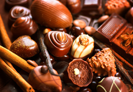chocolate sprinkles: Chocolates assortment. Praline chocolate sweets Stock Photo