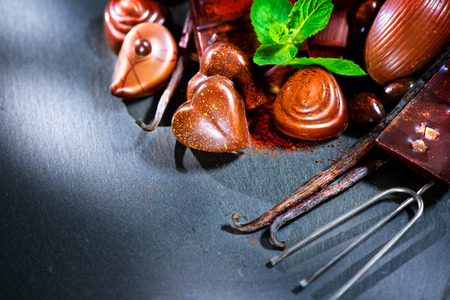 chocolate mint: Chocolates assortment. Praline chocolate sweets Stock Photo