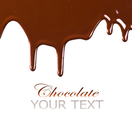 Liquid chocolate border design isolated on white background Фото со стока