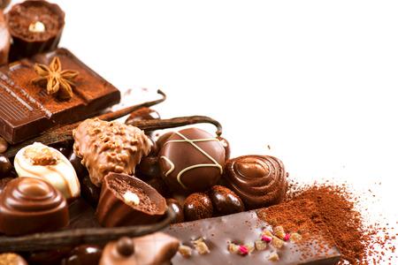 Chocolates border isolated on white background. Chocolate Stockfoto
