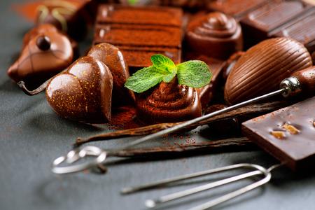 cafe bombon: Surtido de Chocolates. Dulces de chocolate pralin� Foto de archivo