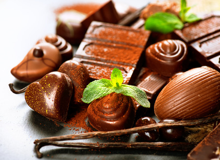 Chocolates assortment. Praline chocolate sweets Stock Photo