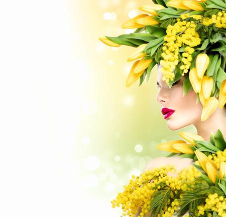 自然花髪型と美少女夏モデル