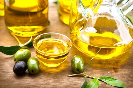 Olives and olive oil. Bottle of virgin olive oil Reklamní fotografie
