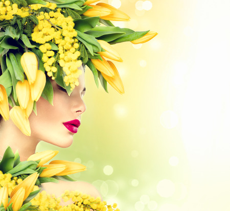 Beauty summer model girl with nature flowers hairstyle photo