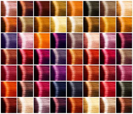 couleur: Coloration des cheveux palette. Teintes. Cheveux teints échantillon de couleur
