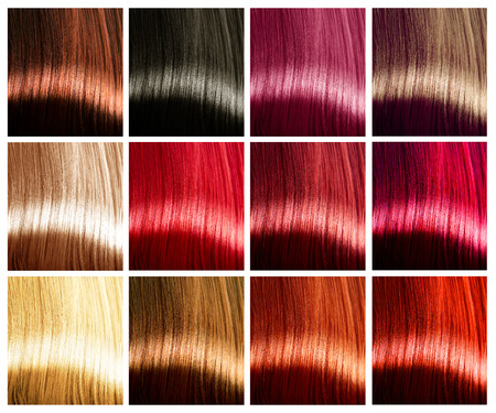 light hair: Hair colors palette. Tints. Dyed hair color sample Stock Photo