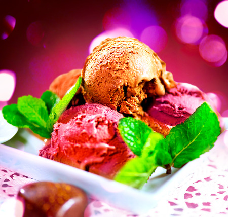 flavours: Ice cream scoops with various flavours