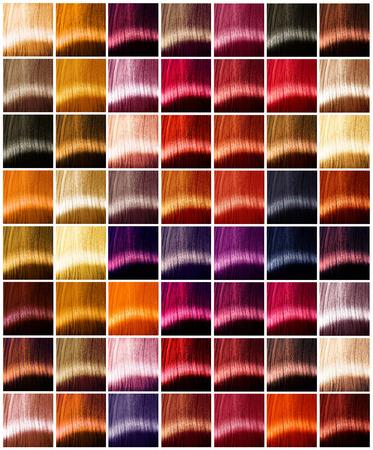 Haar kleuren palet. Tinten. Geverfd haar kleurvoorbeeld