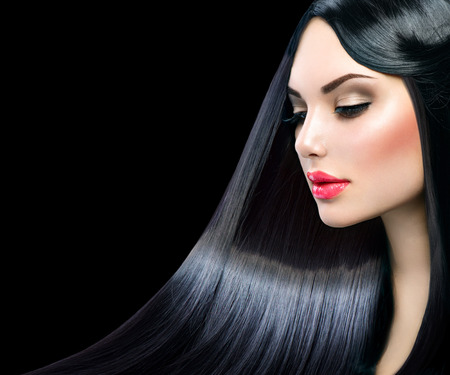 model: Beautiful model girl with healthy long straight shiny hair Stock Photo