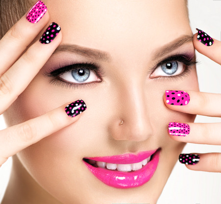 pink nail polish: Woman portrait close up. Bright Colors. Manicure and makeup Stock Photo