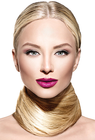 hair colour: Beautiful glamour woman with long blond straight hair Stock Photo