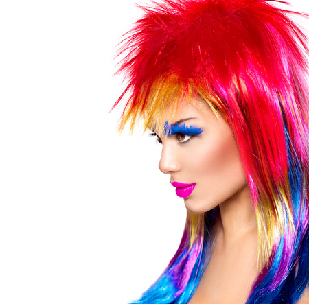 dyed hair: Beauty fashion punk model girl with colorful dyed hair