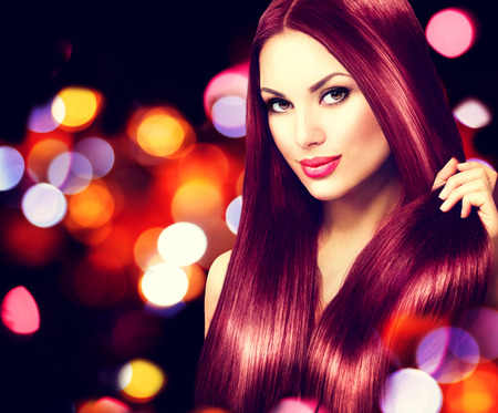 long red hair woman: Beauty model girl with healthy brown hair Stock Photo