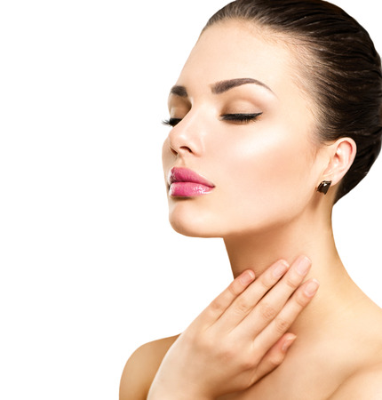 beauty: Beauty portrait. Schönen Spa-Frau berührt ihr Gesicht Lizenzfreie Bilder