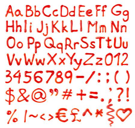 salsa de tomate: Números de letras Ketchup y signos aislados sobre fondo blanco Foto de archivo