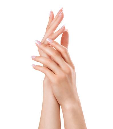 美しい女性の手。スパ ・ マニキュアのコンセプト
