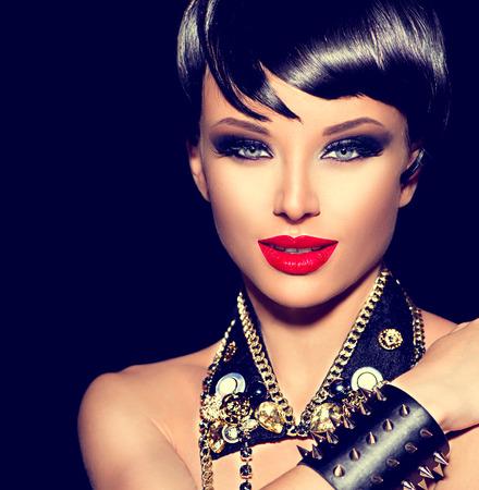 rocker: Beauty punk fashion model girl. Rocker style brunette