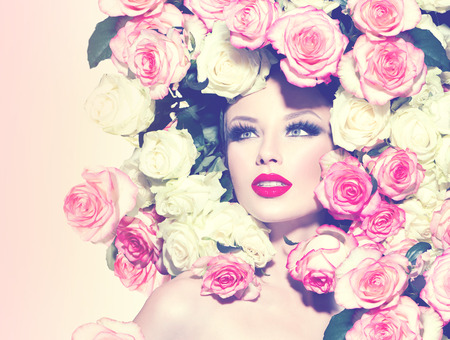 sexy model: Portrait of beauty sexy model girl with roses hairstyle