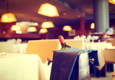 served: Served dinner table in a restaurant. Restaurant interior