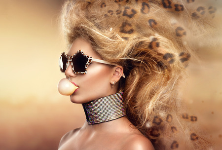leopard: High fashion model girl portrait wearing sunglasses