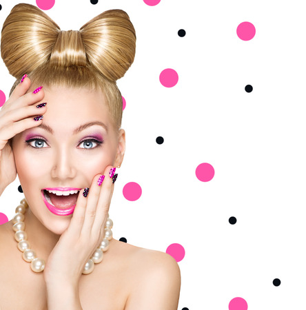 make a gift: Fashion happy model girl with funny bow hairstyle Stock Photo
