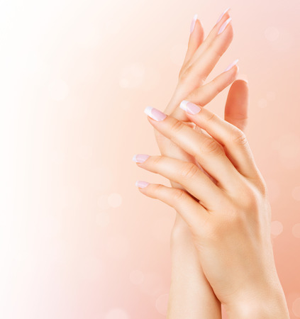 skin care products: Beautiful female hands. Spa and manicure concept