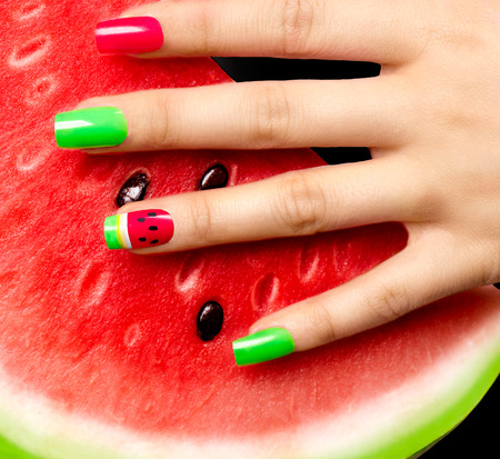 Nail art. Watermelon style bright summer art manicure