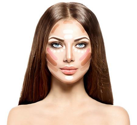 Make-up vrouw gezicht. Contour en hoogtepunt Stockfoto