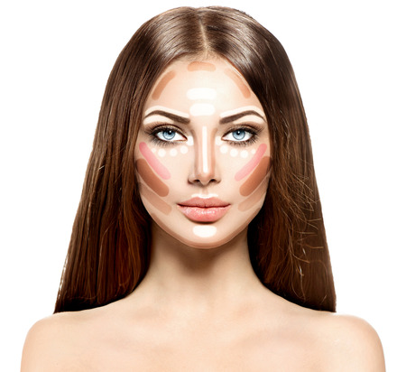 girl face close up: Makeup woman face. Contour and highlight Stock Photo