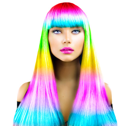 gradients: Beauty fashion model girl with colorful dyed hair Stock Photo