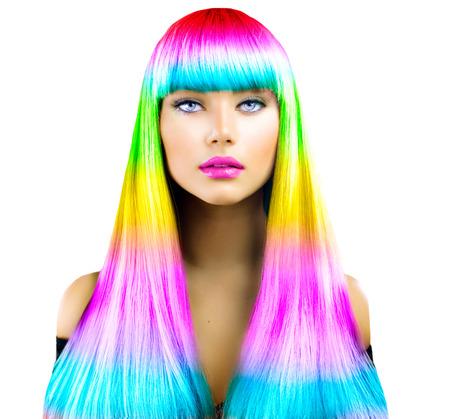 Schönheit Mode Modell Mädchen mit bunt gefärbten Haaren Standard-Bild - 44083831